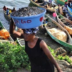 A woman carries a basin full of omena at Rusinga Island in Lake Victoria. #TembeaKenya.
